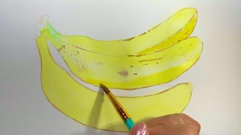 Banana Painting in watercolor
