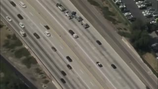 High Speed Police Chase of Truck with Trailer Through Los Angeles