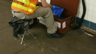 Guy playing fortnite montrose ave subway station
