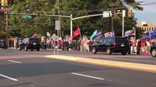 Trump Drives By His Supporters At Walter Reed