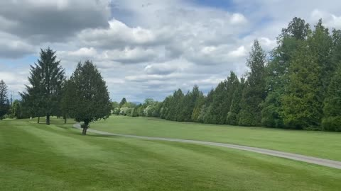 relaxing view of golf course and helicopter flying nature view