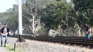 Public Prank Using Train Horn!