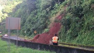 Hawaiian Highway Covered in Landslide