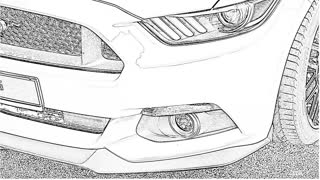 Yellow Mustang Doodly Drawing