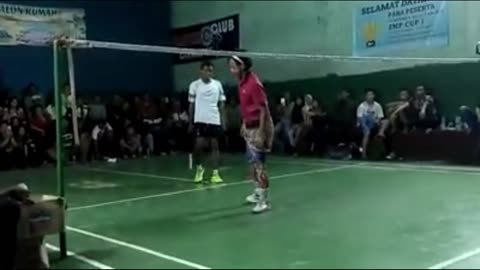 Playing badminton with flashing shoes [part 4]