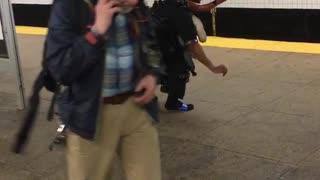 Subway creature weird costume dance