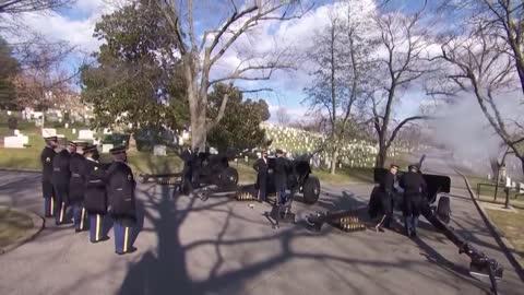21-gun salute held at Arlington National Cemetery ahead of President Biden and VP Harris' visit