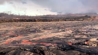 River of Lava Flows Toward Ocean