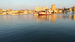 Boats Floating In Nile View Ras El Bar Egypt