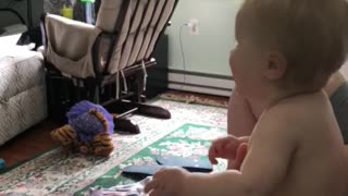 Cute baby girl gets super excited for her bottle