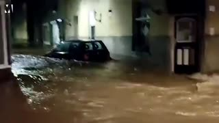Moment Car Swept away by flood in Nertherland