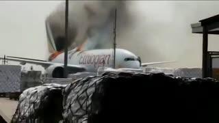 Incendio avión Shangái