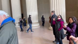 Patriots Sing National Anthem at Lincoln Memorial