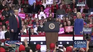 Sarah Sanders speaks to cheering Indiana rally crowd