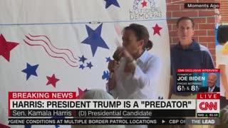 Kamala Harris claims Trump is a 'predator'