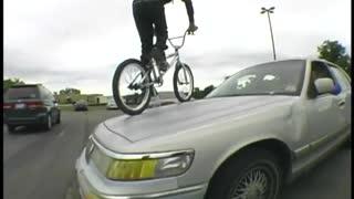 BMX Breaks Windshield