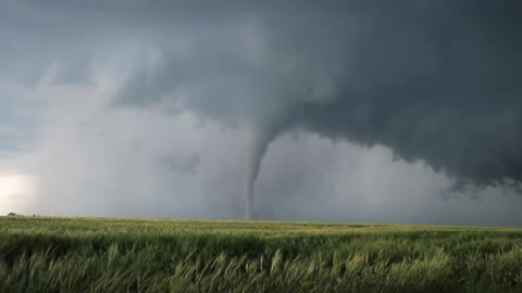 The formation of a tornado on the grassland is really spectacular