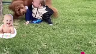 A baby having super fun with a dog