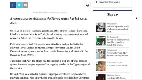 750 Christians were massacred in cold blood by the Ethiopian government. Did you hear about it?