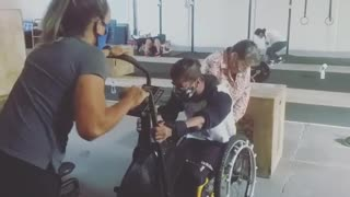 Bicycle training in wheelchair