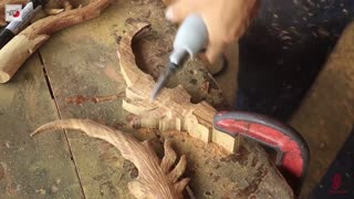 Wood carving - Lord Warrior fighting Dragon