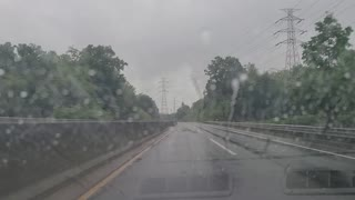 Rainwater seen while driving