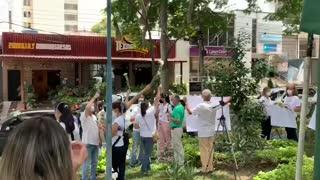 Avanza plantón para apoyar a la Policía en Bucaramanga