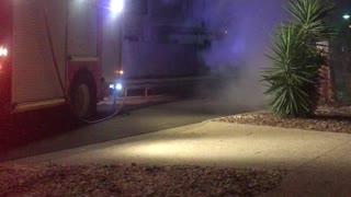 Vehicle Ablaze at Night