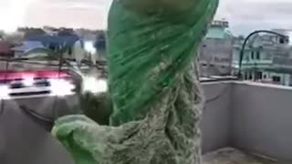 Funny Building Collapse When a Woman Jumps