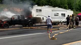 Truck Engulfed in Flames Rolls into Fire Truck