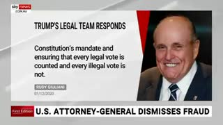 Giuliani lashes Barr's dismissal of voter fraud- No 'semblance' of investigation.m