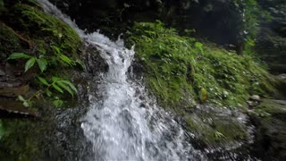 Scene of water falling from the hill