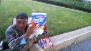 Stranger man gives homeless man gift
