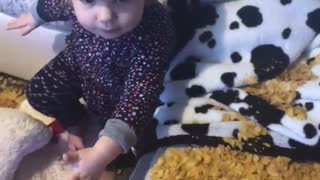 Kiddo Loves Playing with Corn Flakes