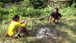 Primitive Fishing Skills Catch Big Fish By Hand At River - Cooking Fish Eating Delicious