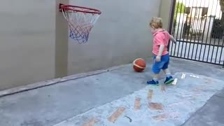 Amazing Basketball Skills from 22 Month old baby