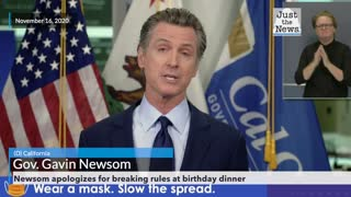 Newsom apologizes for breaking rules at birthday dinner