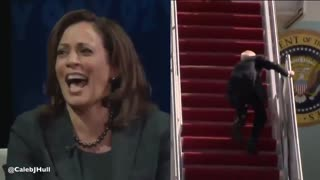We just got hold of Kamala Harris' live reaction to Joe falling on the stairs...
