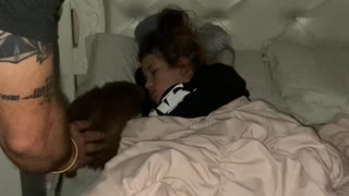 Daughter Wakes up to Puppy Surprise