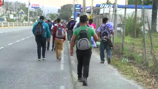 Caravan of hundreds and hundreds of migrants from Honduras start their journey to the United States