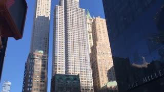 New York street tall building