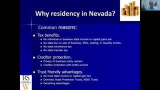 Money Tips & Traps Podcast- Why consider establishing Nevada residency?
