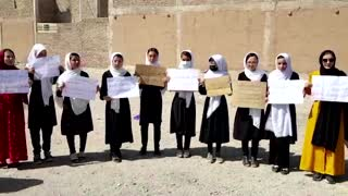 Female students protest in western Afghanistan