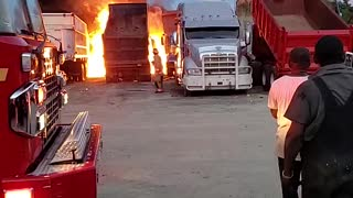 Truck explosion caught on fire....