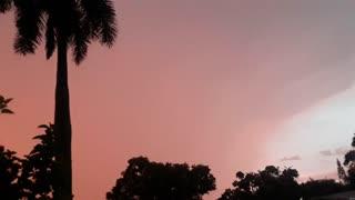 florida rainy sunset with a flash of lightning