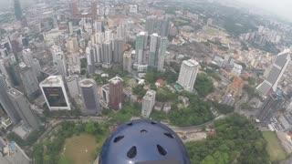 BASE jumps at KL tower in Kuala Lumpur, Malaysia