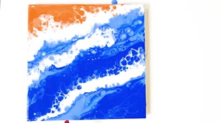 Straw painting technique, painting a sea