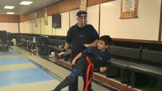 Martial art board breaking with kicks