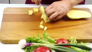 Cooking Potatoes Food Vegetables Cutting Potatoes Kitchen Taste
