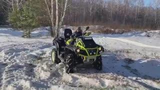 Boy drifting on an ATV
